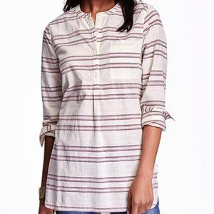 Old Navy Striped Popover Long-sleeve Tunic Top